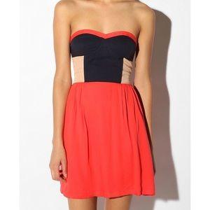 UO Sparkle & Fade Colorblock Strapless Dress